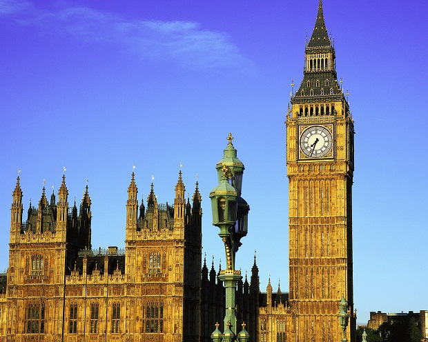 Big Ben Clock Tower and Houses of Parliament ca. 1840-1858 Westminster, London, England, UK