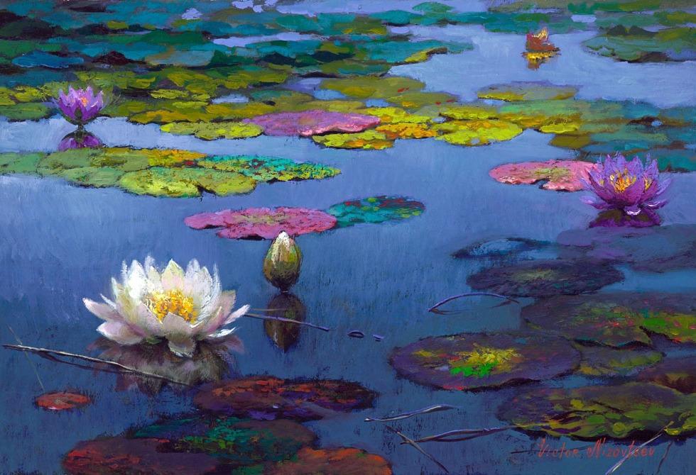 лилии, цветы, живопись